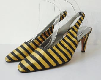 Yellow Vintage Slingback Pumps With Black Stripes // Incoguito // Size 39 // Made In Italy