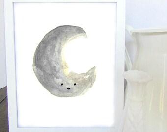 Kawaii Moon Watercolor Print - Wall Decor - Kids Room Decor - Nursery Decor - Home Decor - Baby Shower Gift - Gift for Her - Gift for Mom