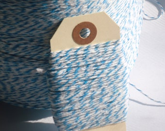 Bright Blue and White Bakers Twine 50 Yards