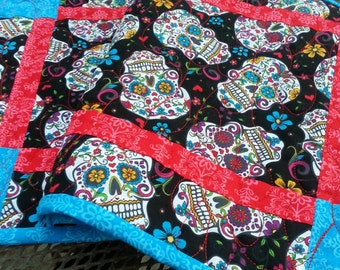 Skulls Quilted Table Runner Handmade Table Runner, Day of the Dead Quilted Table Runner, Skulls Quilted Table Topper, Free US Shipping