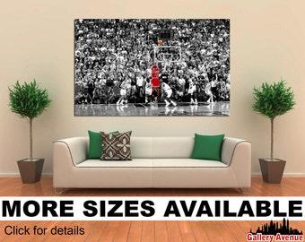 Wall Art Giclee Canvas Picture Print Gallery Wrap Ready to Hang - Michael Jordan Last Shot 60x40 48x32 36x24 24x16 18x12 3.2