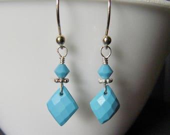 Sleeping BeautyTurquoise Earrings, Genuine Turquoise Earrings, Argentium Sterling Silver, Dangle Earrings, Diamond Shape Earrings