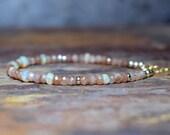 Opal & Sunstone 14k Gold Filled Bracelet, Beaded Gemstone and 14k Gold Filled Bracelet, Handmade Gemstone Jewellery UK, Wife Gift, Welo Opal