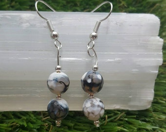 Agate Crystal Earrings, Agate Earrings, Black & White Monochrome, Agate, Agate Crystal, Birthday Gift, Gift for Her, Birthday Present