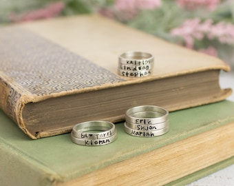 Personalized Ring, Sterling Silver Personalized Ring, Custom Ring, Name Ring, Sterling Silver Ring, Stacking Rings with Names