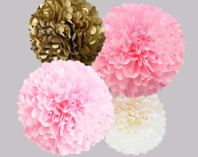 Pink and Gold Tissue Paper Pom Poms | 4 Piece Set | Weddings | Bridal Shower | Decorations | Birthday | Nursery | Party Decorations