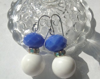 Cornflower Blue And White Shell Earrings.  Sterling silver. Candy for the ears, great for Spring, Summer, Mother's Day, teacher, graduate.