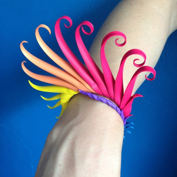 Rainbow Multiplume Bracelet with soft spikes