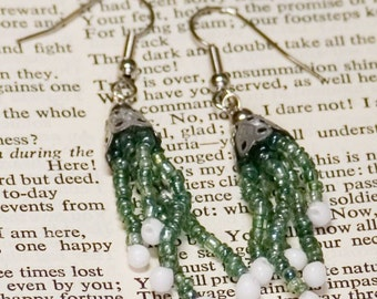 Green and white fringe earrings, reclaimed components