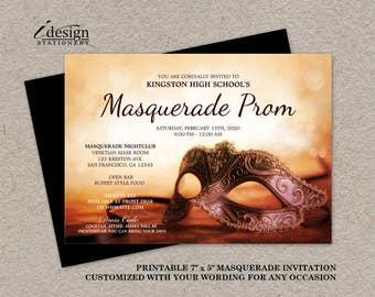 Masquerade Ball Prom Invitation | Printable Junior / Senior Prom Mardi Gras Themed Invitations | Venetian Carnival Mask High School Invite