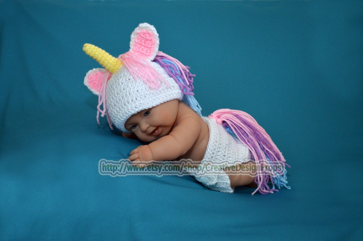 Crochet Costume My Little Unicorn newborn baby set diaper