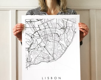 LISBON Map Street Map PORTUGAL City Map Drawing Black and White (Art Print) Wedding Anniversary Gift Wall Decor