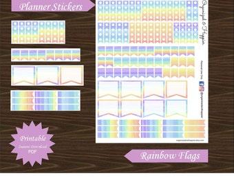 Flag Stickers Rainbow Multi Color Pastel Water Color Erin Condren Planner Printable Assorted Instant Download PDF #P021