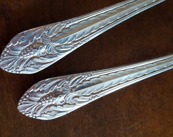 1933 Marquise Silverplate Place Oval Soup Spoons Qty.2