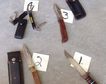 Vintage Hunting Knives / Lot of Knives / Hunting knife / Lot of 3 Knifes and 1 Multi tool