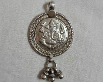 Ganesha Pendant.Handmade Hammered 92.5 Sterling Silver Hindu God of Sucsess & Prosperity Elephant Head God Ganesha Good Luck Holi Pendant