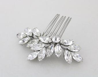 Crystal Bridal hair comb, Leaf hair comb, Rhinestone hair comb, Wedding hair clip, Wedding hair accessories, Swarovski crystal headpiece