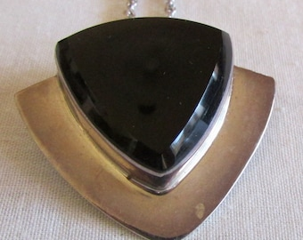 Angular Black Onyx and Sterling Silver Necklace