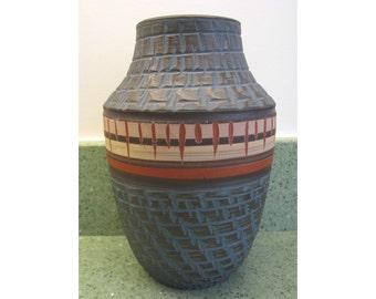 Handmade West German AKRU vase 92 20, 1960s vintage retro, blue, black and earth tones, scraffito