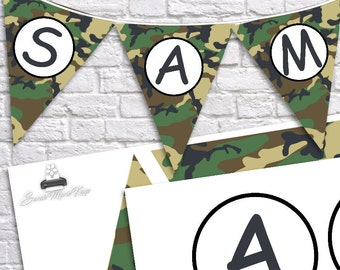 INSTANT DOWNLOAD Printable Camo Flag Banner on 8x11 300 dpi Sheet camoflauge army hunting