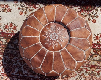 Handmade Moroccan Pouf, Genuine Leather Ottoman Footstool, Natural Tan Color (Unstuffed)