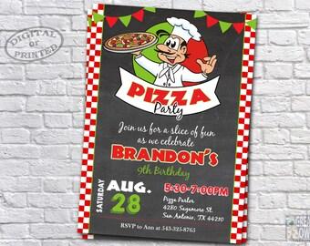 Pizza Party Invitation, Pizza Birthday Card, Pizza Birthday Party, Pizza Party Invite, Pizza Birthday Party Invitation, Italian, Printable