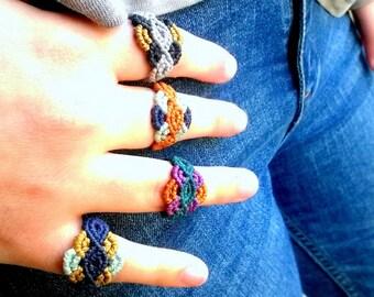 Rings macrame Handwoven Colorful