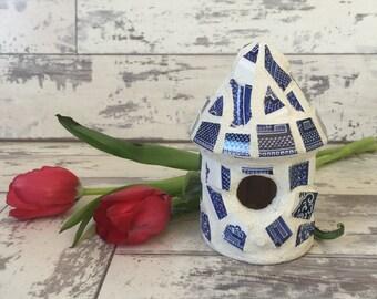 Broken China Mosaic Birdhouse Blue Willow Decorative Mini