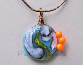 Fused Art Glass Pendant Necklace   One of a Kind Wearable Art   Neon Jewelry  Neon Orange