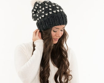 Chunky Knit Fair-Isle Hat, Slouchy Pom Wool Beanie, Ribbed Knitted Heart Slouch Toque, Women's Handmade Winter Accessory / All Sizes