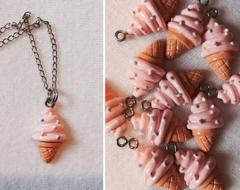 Pink Ice Cream Cone Necklace (with sprinkles)