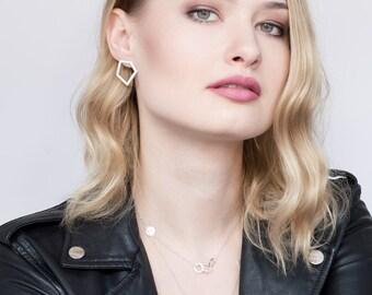 Geometric silver earrings, minimalist silver earrings, geometric handmade earrings, stud geometric earrings, gift for her, pentagon earrings