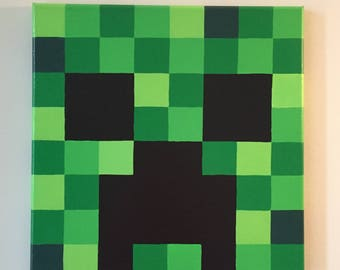 """Minecraft Inspired """"Creeper"""" Wall Decor Hand Painted"""