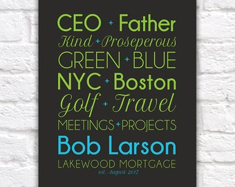 Gift for Boss, CEO, Custom Pairings of your choice - Unique, Personalized Gift for Employee, Co-worker, Bosses Day, Mortgage   WF547