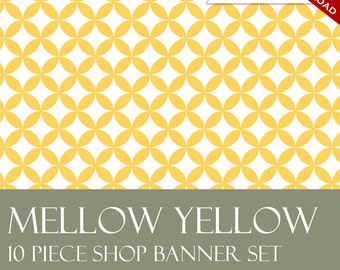 Custom Etsy Banner and Avatar Design Set - 11 Piece Mellow Yellow Minimalist Retro DIY Template - mly - Geometric ZigZag