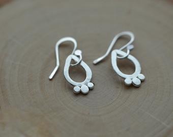 Petite sterling earrings, small everyday earrings, silver dangles, classic silver earrings, yoga jewelry