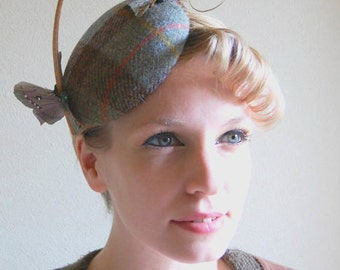 Cocktail hat The Wind Over The Ocean blue harris tweed hat