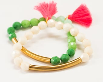 White and Green Beaded Bracelet Set with Pink Tassel, Beaded Stretch  Bracelet, Tassel Bracelet