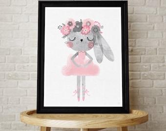 Baby bunny ballerina nursery print
