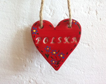 Polska (Poland) - red heart polymer clay folk inspired ornament