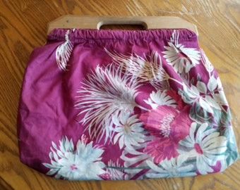 Vintage Handmade Dark Pink Fuchsia Fabric Purse with Wooden Handle, Lined