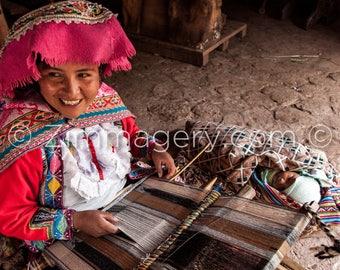 Peruvian Woman Weaving Llama Wool, Inca Valley - 2016