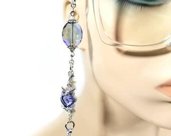 Iridescent Eyeglass Chain. Eyeglass Necklace. Eyeglass Holder. Eyeglass Jewelry. Eyeglass Leash. Swarvoski Owl Charm. Eyeglass Accessories.