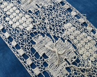 Antique Hand Made Filet Lace  Trim- 140 x 20 cm