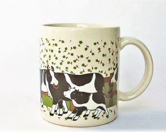 """Black and White Cow and Calf Ceramic Coffee Mug / Teacup - Vintage Holstein Mama and Baby Cows Calves Themed Cup - Made in Japan 3 3/4"""" x 3"""""""