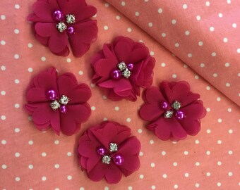 """2.5"""" Magenta Chiffon Flower with Pearl and Rhinestone Center set of 5"""