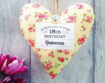 Personalised 18th Birthday Keepsake Gift / 18th Birthday Present. Fabric heart made in your choice of fabric