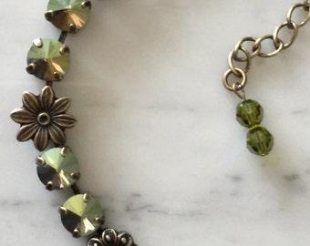Swarovski Iridescent Green Crystal Necklace,  Green Crystal Necklace