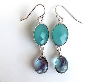 Aqua Watercolor Drop Earrings,OOAK, Fluorite and Chalcedony