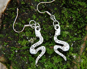 snake Jewelry|for|her snake earring|for|women silver jewelry drop earring dangle earring serpent jewelry Gypsy Jewelry Animal jewelry Tribal
